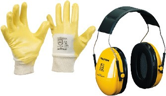 Gloves, hearing protection, respirators, safety glasses & overalls