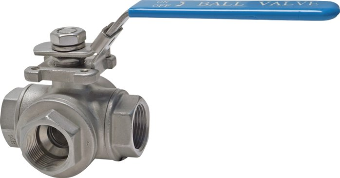 Stainless steel 3-way ball valves, PN 63 (Eco-line)