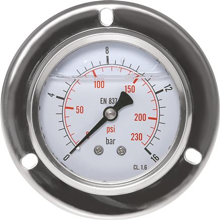 Glycerine built-in pressure gauge with a large front ring Ø 63, 100 mm, stainless steel / brass, Eco-Line